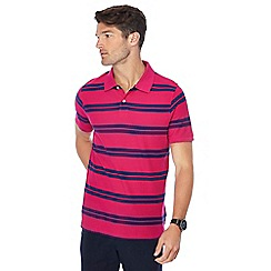 Maine New England - Dark pink stripe print tailored fit polo shirt