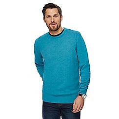 Maine New England - Big and tall turquoise crew neck jumper