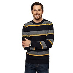 Maine New England - Big and tall navy birdseye striped crew neck jumper