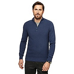 Maine New England - Blue textured zip neck sweater
