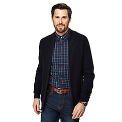 Maine New England - Big and tall navy textured zip through sweater