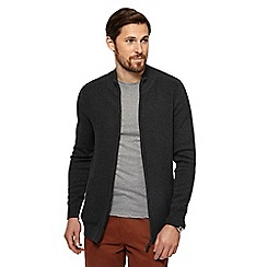 Maine New England - Big and tall dark grey textured zip through sweater
