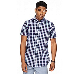 Maine New England - Big and tall navy box check tailored fit shirt