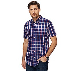 Maine New England - Navy box check tailored fit shirt
