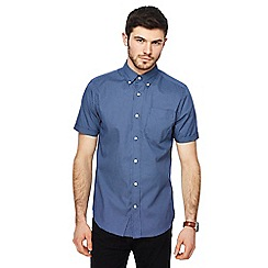 Maine New England - Navy grid spot print tailored fit shirt