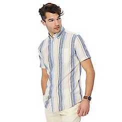 Maine New England - Big and tall yellow ombre stripe linen blend shirt