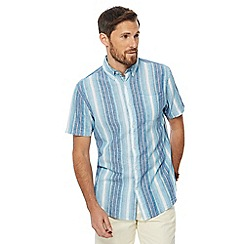 Maine New England - Aqua ombre stripe linen blend shirt