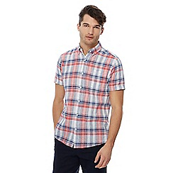 Maine New England - Big and tall mid rose checked print linen blend shirt