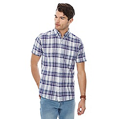 Maine New England - Big and tall purple checked print linen blend shirt