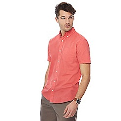 Maine New England - Big and tall mid rose short sleeve linen blend shirt
