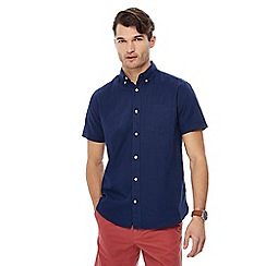 Maine New England - Big and tall navy short sleeve linen blend shirt
