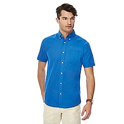 Maine New England - Bright blue short sleeve linen blend shirt