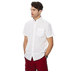 Maine New England - White short sleeve linen blend shirt