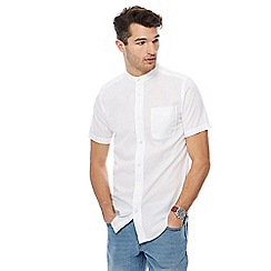 Maine New England - Big and tall white grandad collar tailored fit shirt