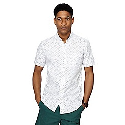 Maine New England - Big and tall white petal print short sleeve tailored fit shirt