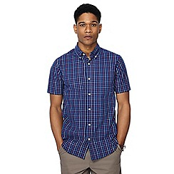 Maine New England - Big and tall navy crossword check short sleeve tailored fit shirt