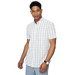 Maine New England - Big and tall white crossword check short sleeve tailored fit shirt