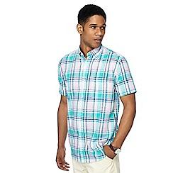 Maine New England - Big and tall pink checked linen blend shirt sleeve shirt