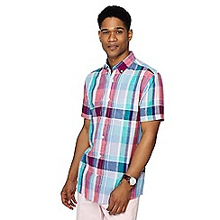 Maine New England - Dark pink puzzle check linen blend short sleeve shirt