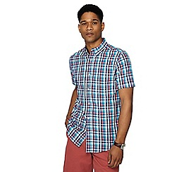Maine New England - Big and tall pink gingham check short sleeve tailored fit shirt
