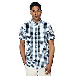 Maine New England - Big and tall blue gingham check short sleeve tailored fit shirt