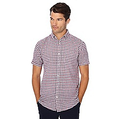 Maine New England - Big and tall red mini check short sleeve linen blend shirt