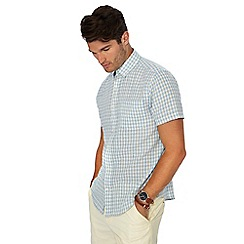 Maine New England - Big and tall yellow mini check short sleeve linen blend shirt