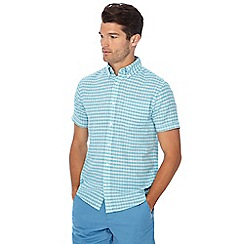 Maine New England - Big and tall aqua blue mini check short sleeve linen blend shirt