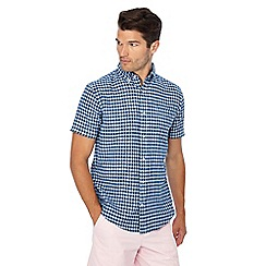 Maine New England - Big and tall navy mini check short sleeve linen blend shirt