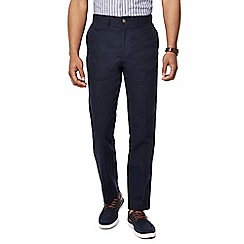 Maine New England - Big and tall navy linen blend straight leg trousers
