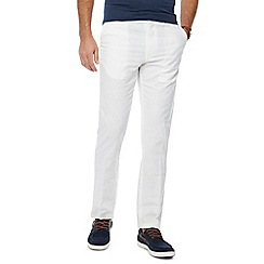 Maine New England - Big and tall white linen blend regular fit trousers