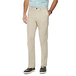 Maine New England - Natural linen blend regular fit trousers
