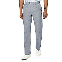 Maine New England - Big and tall grey puppytooth linen blend trousers