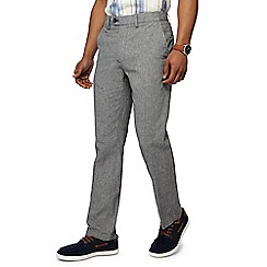 Maine New England - Grey puppytooth linen blend trousers