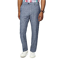Maine New England - Blue linen blend Oxford regular fit trousers