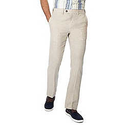 Maine New England - Big and tall natural linen blend oxford trousers