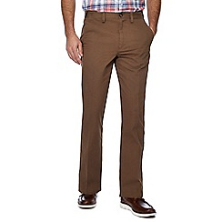 Maine New England - Dark tan striped regular fit chino trousers