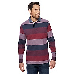 Maine New England - Big and tall dark pink and navy striped rugby shirt