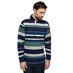 Maine New England - Green Melville stripe long sleeve rugby shirt