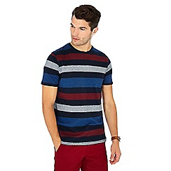Maine New England - Navy block stripe print cotton T-shirt