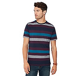 Maine New England - Big and tall plum block stripe print cotton t-shirt