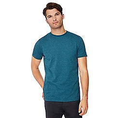Maine New England - Big and tall dark turquoise stripe print t-shirt