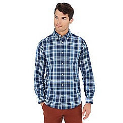 Maine New England - Navy Scottish check print cotton long sleeve shirt
