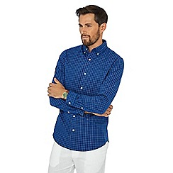 Maine New England - Blue grid check print shirt