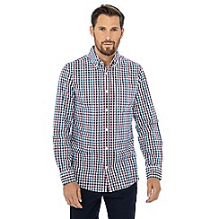 Maine New England - Wine red gingham check print shirt