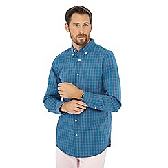 Maine New England - Big and tall dark turquoise check print long sleeve shirt