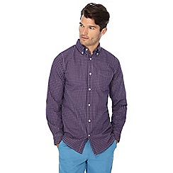 Maine New England - Purple micro check print long sleeve regular fit shirt