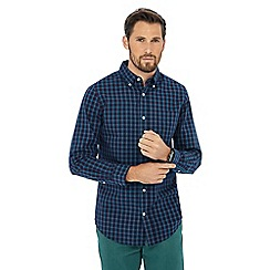 Maine New England - Dark turquoise plaid check print shirt