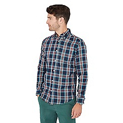 Maine New England - Dark turquoise checked long sleeve regular fit shirt