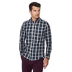 Maine New England - Navy checked long sleeve regular fit shirt